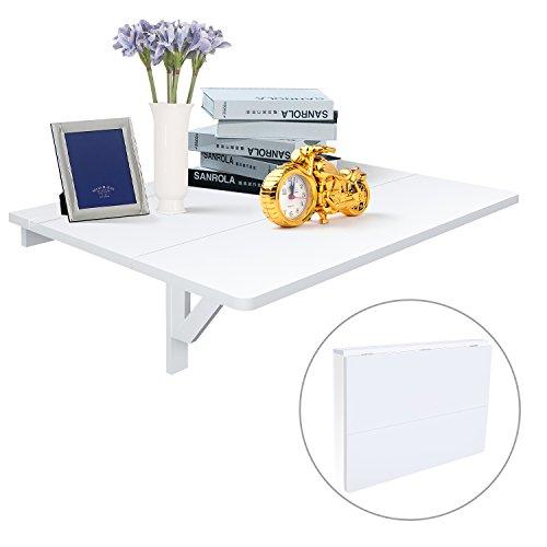 Klapptisch Esstisch (HOMFA Wandtisch Wandklapptisch 80x60cm Küchentisch Klapptisch Esstisch Balkontisch Gartentisch 20KG traglastbar Weiß)