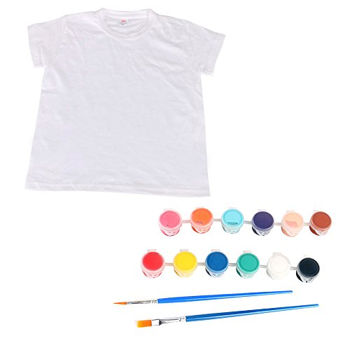 Cartoon Kid Weiß t-shirt + Stoff Farbe + Malerei Pinsel Kinder Kinder DIY Zeichnung Farbe Set Lernspielzeug für Mädchen Jungen Größe 8