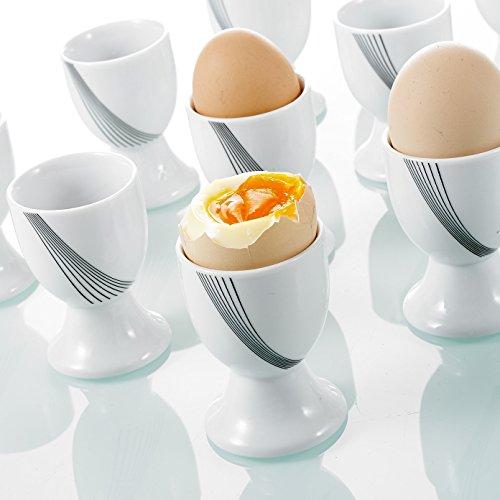Vancasso 12pcs Set de Coquetiers en Porcelaine Blanc Design Moderne Service Petit Déjeuner