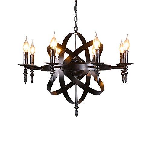 Mittelalterliche Anhänger runde Kerze Kronleuchter Deckenpendelleuchte schwarz Burg Stil Schmiedeeisen massive Größe für ein Wohnzimmer Flur oder Landhaus Kronleuchter, Durchmesser 70cm