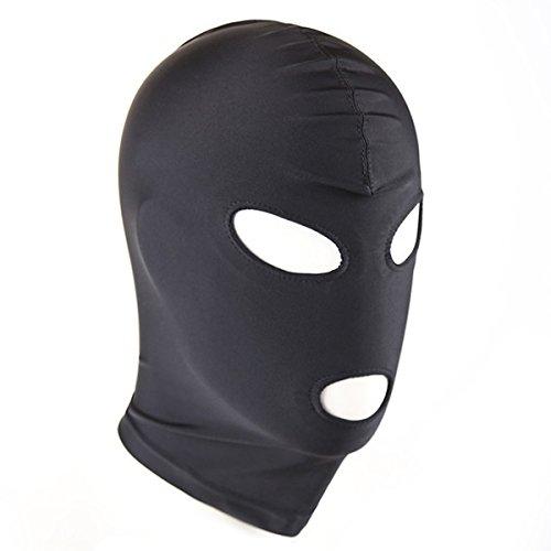 (ADESUGATA Maske Kostüm Haube Kopf Abdeckung Rolle Cosplay Maske CS Spiel Spielzeug für Halloween Maskerade Masken, Schwarz (Augen und Mund öffnen))