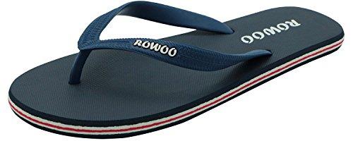ROWOO Men's Beach Flat Rubber Sandals Flip Flops (11 UK/45 EU, Dark Blue)