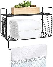 mDesign Bathroom Shelf – 2-Tier Wire Shelf with Integrated Towel Rail – Ideal Bathroom Storage Solution