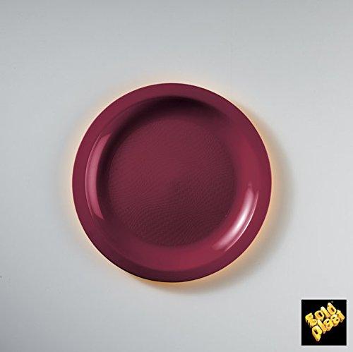 Round Collection Piatto da dessert, in plastica, colore: bordeaux, confezione da 50
