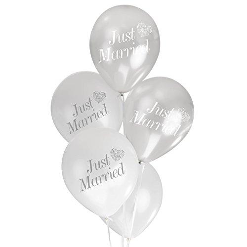 ce Ballons Just Married, Weiß/Silber ()