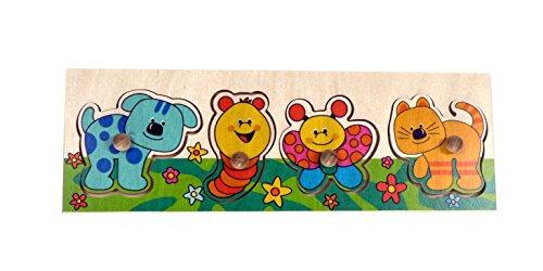 Puzzle mit Griff   Tiere 4 Teile aus Holz, Steckpuzzle mit Griffen, Lernspiel, Holzspielzeug, Griffpuzzle - Motorikspiel - Motorik - Puzzle - für Kinder