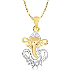 MEENAZ Om Ganesha Ganpati Pendant,Locket Gold Chain in God Pendant in Amreican Diamond for Man & Women GP197
