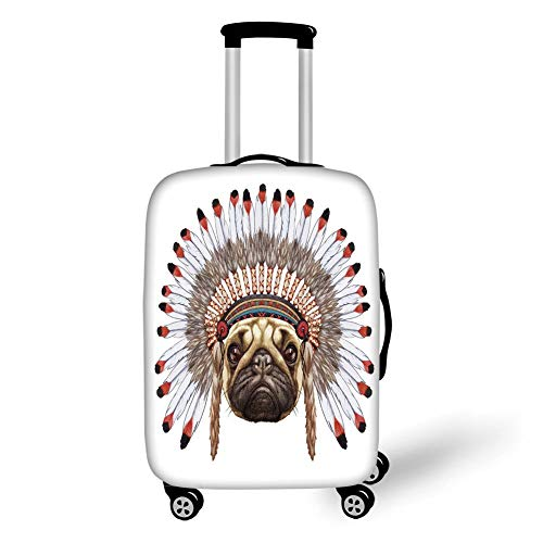Travel Luggage Cover Suitcase Protector,Pug,Portrait of a Dog as a Native with War Bonnet Hand Drawn Illustration of Fun Animals Decorative,Red Black Tan,for Travel,L Red Hat Bonnet