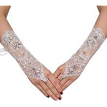 Demarkt 1 Pair Gants de Mariage Blanc Gants Mitaines Dentelle de Diamant  Gant Design élégant pour ce5745ea4065