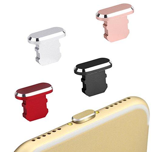 innoGadgets Staubschutz Stöpsel kompatibel mit iPhone 7/8/X/Xs/Xr | Staubstecker, Schutz für Lightning Anschluss | Aus hochwertigem Aluminium [alle iPhone Farben] + GRATIS Silikon-Clip | Silber