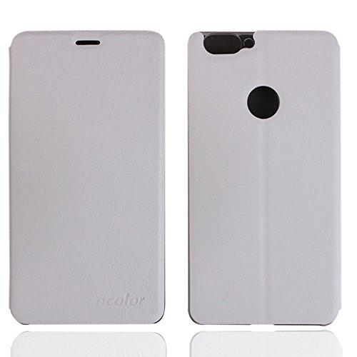 Owbb Hülle für BLUBOO Dual Handyhülle Hard Plastik PU Ledertasche Flip Cover Tasche Hülle Case mit Stand Function Retro Klapphülle Hochwertige Design Weiß