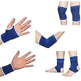 Ndier Set von Sportschutz Ein Paar Knieschützer + Ein Paar Handgelenke + Ein Paar Handschuhe + Ein Paar Knöchel + Ein Paar Ellenbogen für Sport, Übungen und Fitness