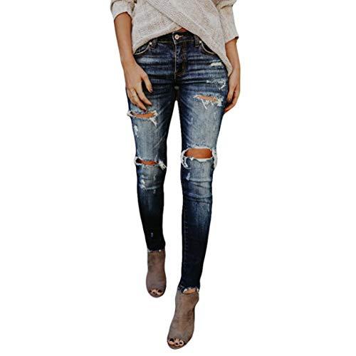 Mujer Vaqueros Push Up Rotos Ocio Estilo Skinny Jeans De EláSticos Ropa Pantalones STRIR (L)
