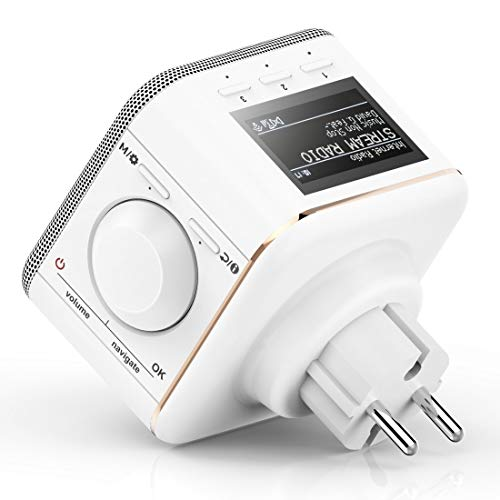Hama Steckdosen Internetradio klein WLAN Plug in Radio (Bluetooth/AUX/USB/Spotify/Multiroom/Netzwerkstreaming, integr. Radio-Wecker, beleuchtetes Display, geeignet für die Steckdose)