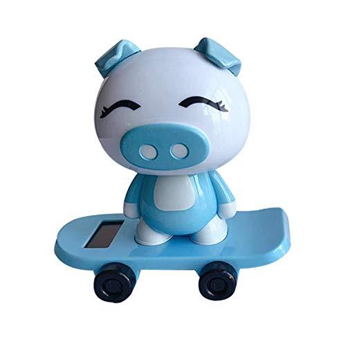 Sue Supply Solar Wackelfigur Skateboard Solar Auto Dekoration Schütteln Ferkel Puppe Cartoon Schwingt Solarbetriebene Spielzeug