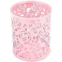 Caja De Almacenaje De Los Efectos De Escritorio Del Metal Del Envase Del Lápiz De La Pluma Del Cilindro Del Patrón De Flor De Rose Hueco 5 Colores ( Color : Pink )