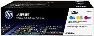 HP 128A Pack de 3 Toners Cyan/Magenta/Jaune Authentiques (CF371AM)