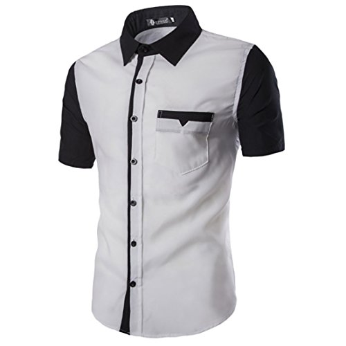 Men's Fashion Turn down Collar Patchwork Short Sleeve Shirts 17DC38 White