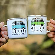 Personalised Campervan Enamel Mug - Travel & Adventure - Gift For Him or Her - Add Name and Text - Unique