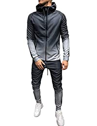 0f7d62006a7f Men's 2 Pieces Gradient Outfit Set Long Sleeve Full Zip Hooded Pullover  Sweater and Long Pants Set Gym Tracksuit Jogging Set Activewear…