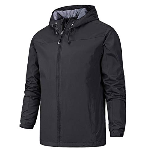 Aooword-men clothes Herren trenchcoat pure color aktive motorhaube bequeme sport outwear X-Large Schwarz -