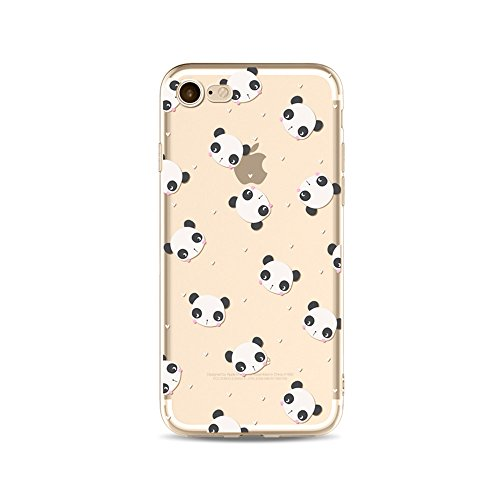 "Coque iPhone 7 Plus Etui Housse,BoomTeck Coque Pour 5.5"" Apple iPhone 7 Plus Silicone Souple Transparente Motif Clear Ultra Mince Anti Choc Anti-rayures Gel TPU Etui Protection Bumper Case Panda Migno 19"
