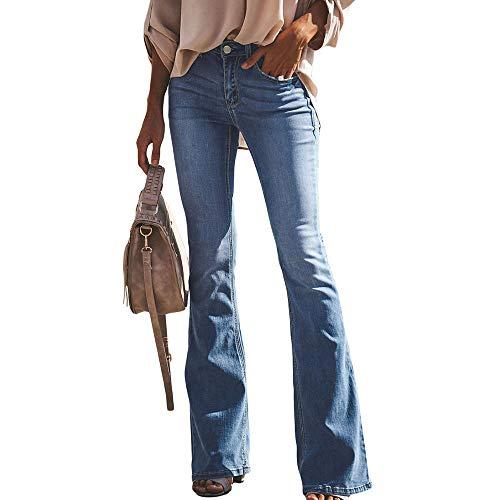 0534af5b5f0e Huateng Donna Jeans a Zampa Pantaloni Pantaloni di Denim a Vita Alta  Elasticizzati