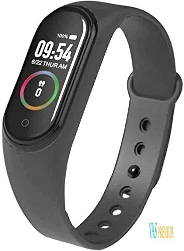 M4 Smart Band Fitness Tracker Watch Heart Rate with Activity Tracker Showerproof Body Functions Like Steps Counter, Calorie Counter, Blood Pressure, Heart Rate Monitor Touch Button by VASPREMIUM
