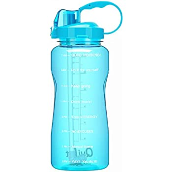 Travel XMSSIT Portable 2L Large Capacity Sports Water Bottle Hydrate Drinking Bottle with Scale Straw Strap Wide Mouth Sports and Outdoors for Bodybuilding Leak Proof BPA Free