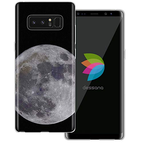 dessana Mond transparente Schutzhülle Handy Case Cover Tasche für Samsung Galaxy Note 8 Vollmond 1226 Crystal