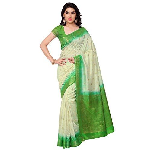 Varkala Silk Sarees Women's Raw Silk Banarasi Saree With Blouse Piece(ND1006PG_Green_Free Size)