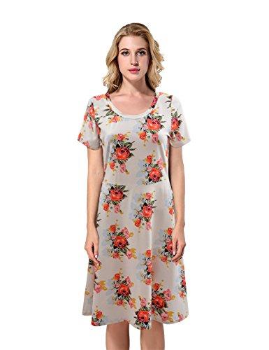 Yidarton Damen Muster Kleid Elegant Blumen kleider Midikleid Casual Strandkleider Lose Kleid Sommerkleider Knielang Gedruckt Kleids Weiß
