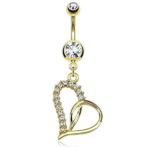 Bauchnabelpiercing Schmuck Goldheart - Nabelpiercing Bauchnabel Piercing Barbell Herz mit 14K Goldüberzug Gold -