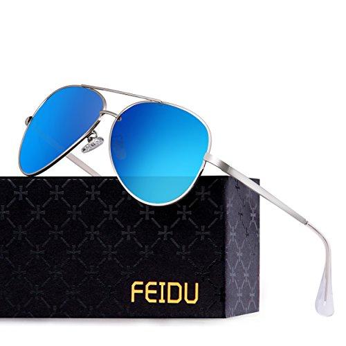 FEIDU Polarisierte Pilotenbrillen Männer Metallrahmen Frauen FD9009 (Blau)