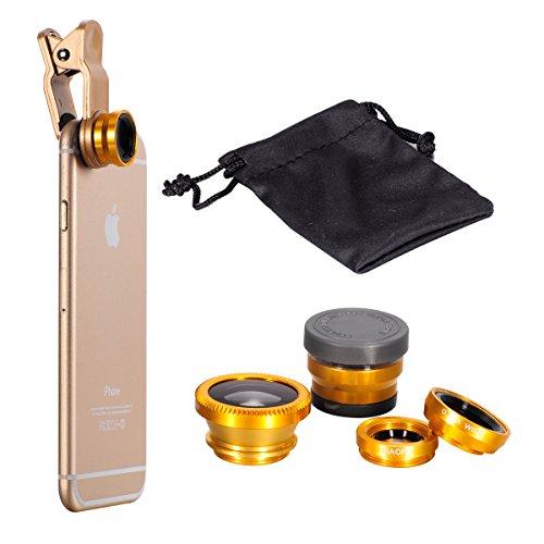 Nero Universale 6x HD Super Macro Lens + Obiettivo Fisheye + Wide Angel lens (Grandangolo Lente) + Micro lens + Clip + Pouch Borsa Carry bag Per Smartphone iPhone 3G / 3GS / 4G / 4S / 5 / 5G / 5C / 5S Oro