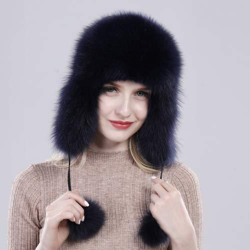 Kaijin lady vera e propria vera pelliccia di volpe cappello moda 100% naturale vera pelliccia di volpe cappellino donna casual calda russia real berretti di bomber di pelliccia di volpe