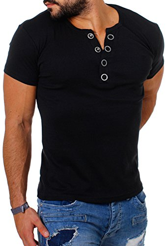 Young & Rich Herren Uni feinripp T-Shirt mit Knopfleiste & tiefem Ausschnitt deep V-Neck einfarbig big buttons 2003, Grösse:M;Farbe:Schwarz (Polyester Viskose 20% 80%)
