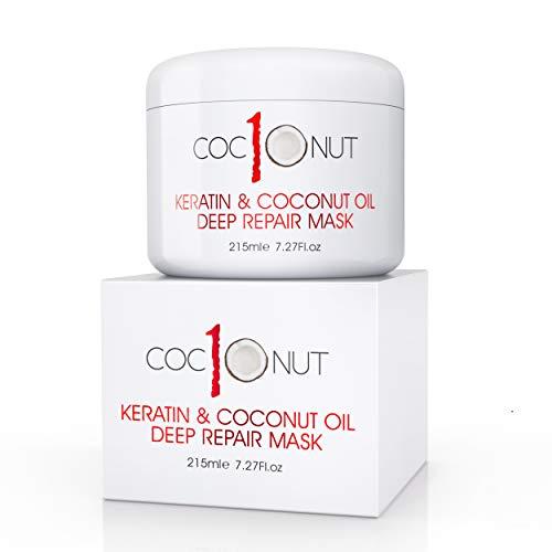 Masque Capillaire Coco Kératine - Masque pour Cheveux à l'Huile de Noix de Coco et Protéine de Kératine - Soin Hydratant Cheveux Secs, Abîmés, Fourches, Couleur, Frisottis - 215ml
