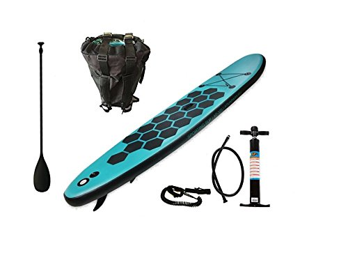 Aquaparx Sup 335 x 71 x 15 inch Inflatable Isup Inflatable Aluminium Paddle Marine Pump Stand Up Paddle Board Set, Aqua, Turquoise/blue/black Picture
