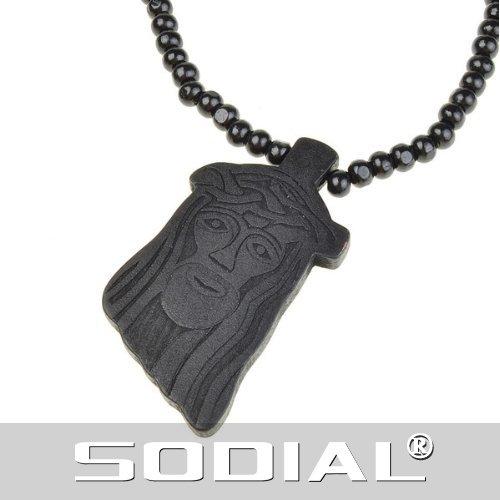 SODIAL(R) Collana a catena nera con ciondolo di legno Gesu'