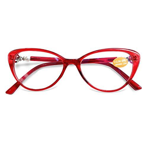 KOOSUFA Lesebrille Katzenaugen Damen Vintage Mode Cateye Hornbrille Lesehilfen Sehhilfe Retro Designer Vollrandbrille mit Stärke 1.0 1.5 2.0 2.5 3.0 3.5 (Rot, 3.5)