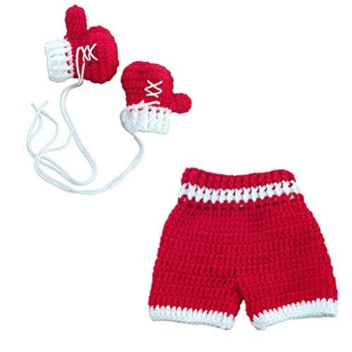 Xurgm Boxen 0-3month Baby Häkeln Fotografie Requisiten Schießen Neugeborenen Foto Cool Boy Kostüme Säuglingshosen Kleidung Set - Box Boy Kostüm
