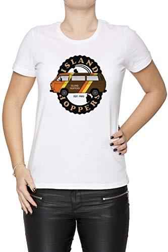 Island Hoppers Vanagon - Vanagon Damen T-Shirt Rundhals Weiß Kurzarm Größe XS Women's White T-Shirt X-Small Size XS