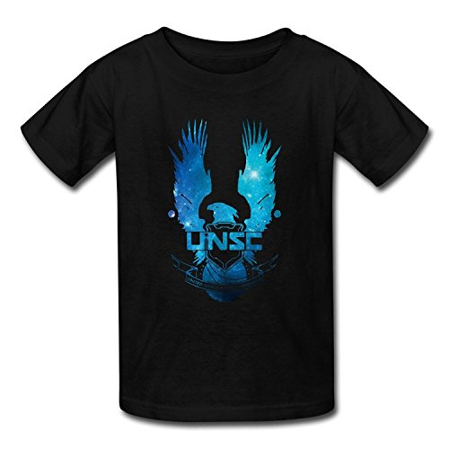 Grossbull Youth's Halo 5 Guardians UNSC Eagle Logo T-shirts Black