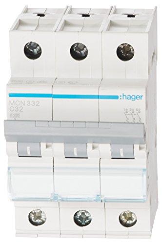 Hager MCN332 LS-Schalter 3P 6kA C-32A 3M Schraubtechnik (Pole-licht-schalter)