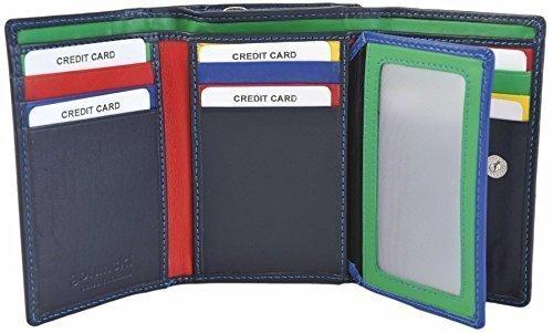 GOLUNSKI pelle Piccolo Nero/China Rosa Donna 9 Carta Portafoglio 6-006 - Nero / China Rosa, Small Blu Scuro / Multi