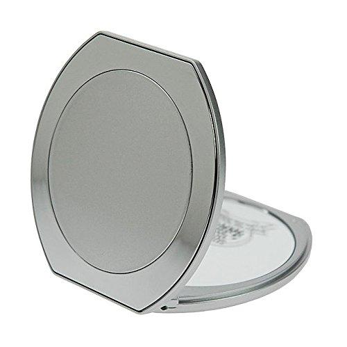 Taschen-Spiegel Silber mit 10-fach Vergrößerung. Kosmetex, Ø10.5cm, Taschen Kosmetik-Spiegel -