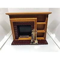 Dolls House Miniature 1:12th Scale Walnut Fireplace With Companion Set