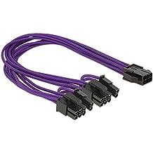 DeLOCK PCI Express 6 pin - 2 x 8 pin - Cable (Macho/hembra, PCI-E (6-pin), 2 x PCI-E(6+2 pin), Derecho, Derecho, Negro, Púrpura)