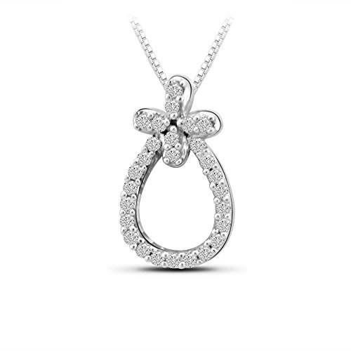 Or Blanc 9 ct Pendentifs Diamant en forme de poire, 0.1 Ct Diamant, GH-SI, 0.38 grammes.